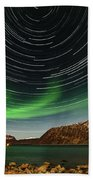 Aurora Borealis With Startrails Hand Towel