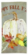 Autumn Celebration - 4 Happy Fall Y'all White Pumpkin Fall Leaves Gourds Hand Towel