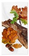 Autumn Oak Leaves And Acorns On White Bath Towel