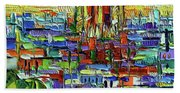 Barcelona Orange View - Sagrada Familia View From Park Guell - Abstract Palette Knife Oil Painting Bath Towel