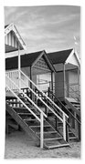 Beach Huts Sunset In Black And White Square Bath Towel