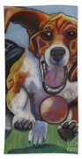 Beagle Chasing Ball Bath Towel