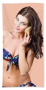 Beautiful Beach Babe Over Studio Background Bath Towel