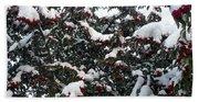 Berries And Snow Bath Towel