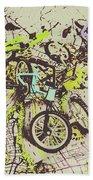 Bikes And City Routes Bath Towel