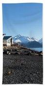 Black Sand Beach In Seward Alaska Hand Towel