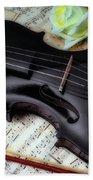 Black Violin On Sheet Music Hand Towel