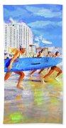 Blue Board Fast Into Ocean Bath Towel