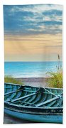 Blue Boat At Dawn Bath Towel