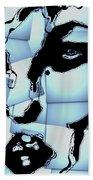 Blue Pop Art Woman's Face 1960's Retro Bath Towel