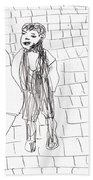 Boy On The Street Pencil Drawing Bath Towel
