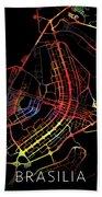 Brasilia Brazil City Street Map Watercolor Dark Mode Bath Towel