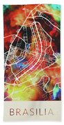 Brasilia Brazil Watercolor City Street Map Bath Towel