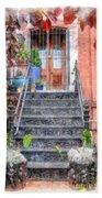 Brick Townhouse Walkup Watercolor Hand Towel