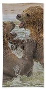 Brown Bears Fighting Bath Towel by Larry Linton