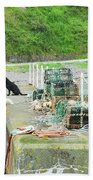 Burnmouth Harbour With Dog On Pier And Lobster Pots Bath Towel