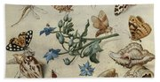 Butterflies, Clams, Insects Bath Towel