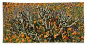 Cactus Poppies And Bluebells Bath Towel