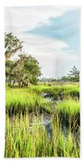 Chisolm Island - Marsh At Low Tide Bath Towel
