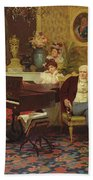 Chopin Playing The Piano In Prince Radziwills Salon Bath Towel