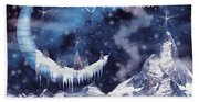 Christmas Card With Frozen Moon Bath Towel