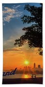 Cleveland Sign Sunrise Hand Towel