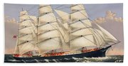 Clipper Ship Three Brothers, The Largest Sailing Ship In The World Published By Currier And Ives Bath Towel