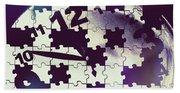 Clock Holes And Puzzle Pieces Bath Towel