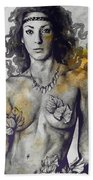 Colony Collapse Disorder - Gold - Nude Warrior Woman With Autumn Leaves Bath Towel