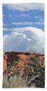Colorado National Monument Colorado Blue Sky Red Rocks Clouds Trees Hand Towel