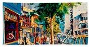Colorful Cafe Painting Irish Pubs Bistros Bars Diners Delis Downtown C Spandau Montreal Eats         Bath Towel