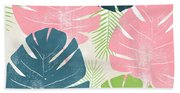 Colorful Palm Leaves 1- Art By Linda Woods Bath Towel