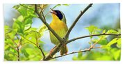 Common Yellowthroat Singing His Little Heart Out Bath Towel