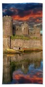 Conwy Castle Sunset Bath Towel by Adrian Evans