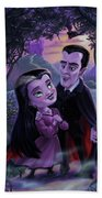 Count And Countess Dracula During Halloween Evening Bath Towel by Martin Davey