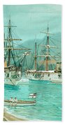 Cruiser And Gunboat Hoist On Ponape The German Flag Bath Towel