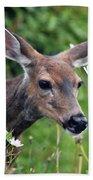 Deer In Daisies Bath Towel