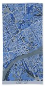 Detroit Map Retro 5 Bath Towel