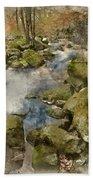 Digital Watercolor Painting Of Autumn Fall Forest Landscape Stre Bath Towel