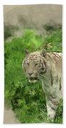Digital Watercolor Painting Of Beautiful Portrait Image Of Hybri Bath Towel