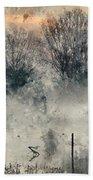 Digital Watercolor Painting Of Panorama Landscape Of Lake In Mis Bath Towel