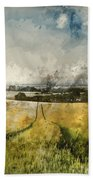 Digital Watercolor Painting Of Stunning Countryside Landscape Wh Bath Towel