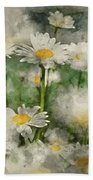 Digital Watercolor Painting Of Wild Daisy Flowers In Wildflower  Hand Towel
