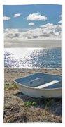 Dinghy On A Sunny Beach Bath Towel