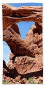 Double Arch In Utah Park During Summer Time  Bath Towel