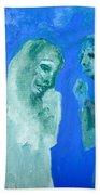Double Portrait On Blue Sky Bath Towel