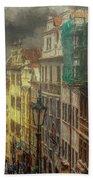Downhill, Downtown, Prague Bath Towel by Leigh Kemp