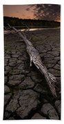 Dry Banks Of Rainy River After Sunset Bath Towel