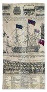 Early 18th Century British Man Of War Ship Diagram Bath Towel