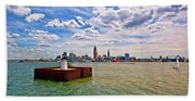 East Pierhead Lighthouse View Of Cleveland Hand Towel